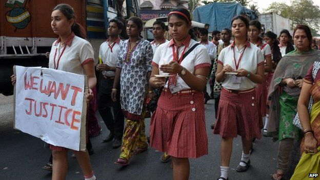 This photo taken on March 14, 2015 shows students from the Convent of Jesus and Mary in Ranaghat, 70 kilometres north of Kolkata, protesting after a 71-year-old nun was gang-raped at the convent.