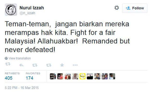 Screen capture of Nurul Izzah Anwar's tweet on 16 March 2015