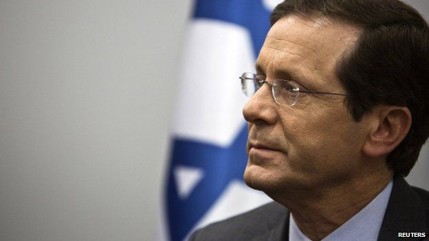 """Yitzhak Herzog, co-leader of the centre-left Zionist Union party, is seen at his party""""s headquarters in Tel Aviv March 16, 2015"""