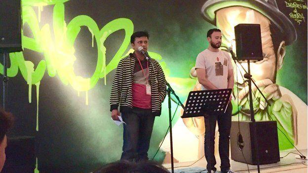 Sharif performs his poem
