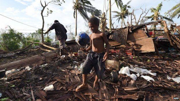 Cyclone destruction in Vanuatu's capital Port Vila (16 March 2015)