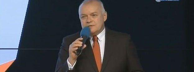 Russian NTV screengrab of Dmitry Kiselev at the launch of Sputnik