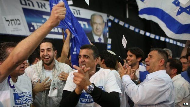Israeli Likud party supporters react to the exit polls while they wait for the announcement of the first official results of Israel's parliamentary elections at the party's headquarters in the city of Tel Aviv, 17 March 2015