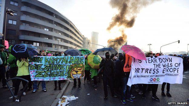 Activists in Frankfurt (18 March)