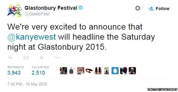 Glastonbury Festival tweet