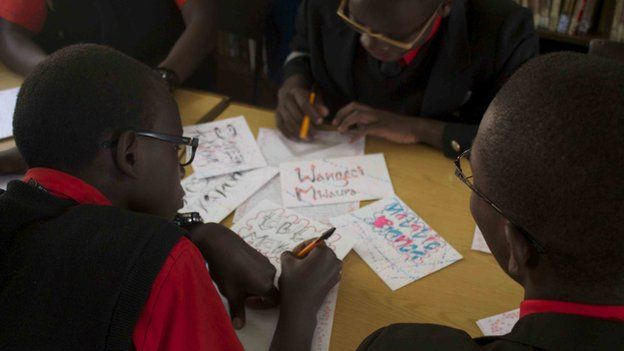The kenya schoolchildren keeping letter writing alive bbc news kenyan boys write letters thecheapjerseys Images