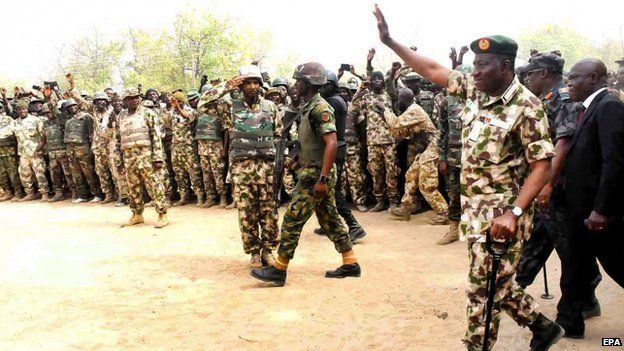 Nigerian President Goodluck Jonathan visits troops in Borno State