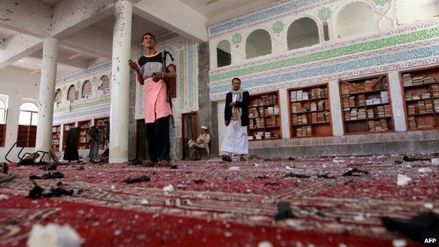 Aftermath of suicide bomb attack at a mosque in Sanaa, Yemen (20 March 2015)