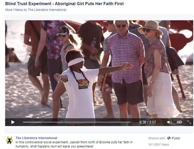 More than 300,000 people have watched a video of a young Aboriginal woman waiting for hugs