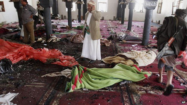 Bodies on the floor of a mosque in Sanaa. 20 March 2015
