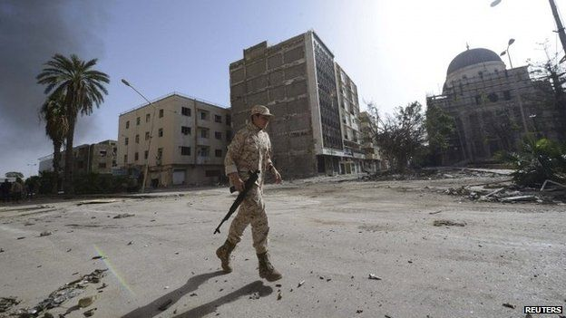 A member of the Libyan pro-government force
