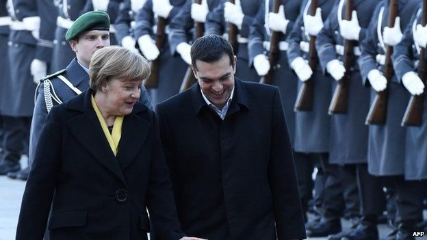 Angela Merkel and Alexis Tsipras taking a military guard of honour in Berlin, 23 March 2015