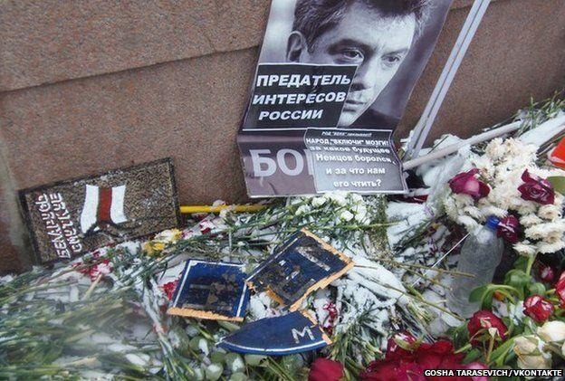 Image taken from social media, posted by SERB member Gosha Tarasevich on VKontakte, shows damaged tributes to Boris Nemtsov