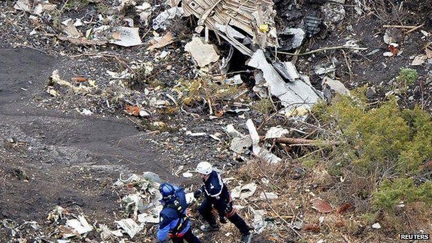 Crash scene wreckage