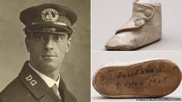 Able Seaman Joseph Parry and baby's shoe