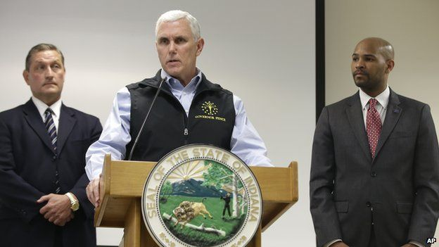 Governor Mike Pence held a press conference on Wednesday after meeting with local officials about the HIV outbreak.