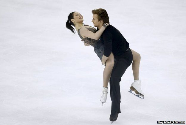 Russia's Elena Ilinykh and Ruslan Zhiganshin compete in the ice free dance
