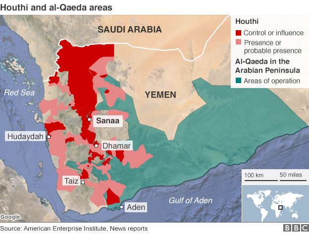 Map showing Houthi control and al-Qaeda area of operation