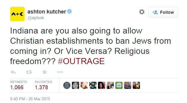 Actor Ashton Kutcher is the among celebrities who have lambasted the law on Twitter