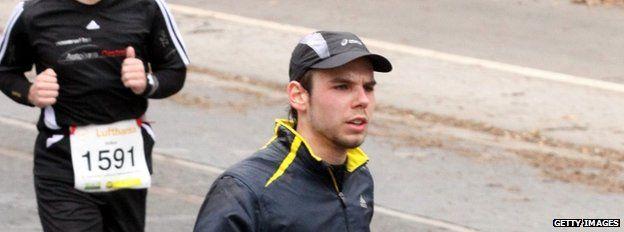 Andreas Lubitz runs a half-marathon in Frankfurt, 14 March 2010