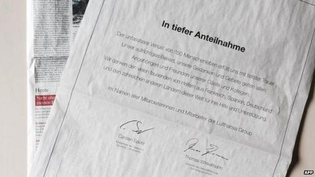 Lufthansa and Germanwings took out full-page condolence notices in German newspapers, 28 March