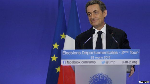 Nicolas Sarkozy, conservative UMP political party leader and former French president, attends a news conference after the close of polls in France's second round Departmental elections
