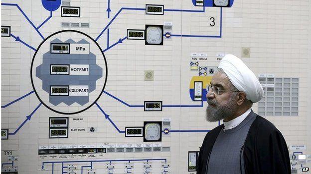 Iranian President Hassan Rouhani at Bushehr nuclear power (Jan 2015)