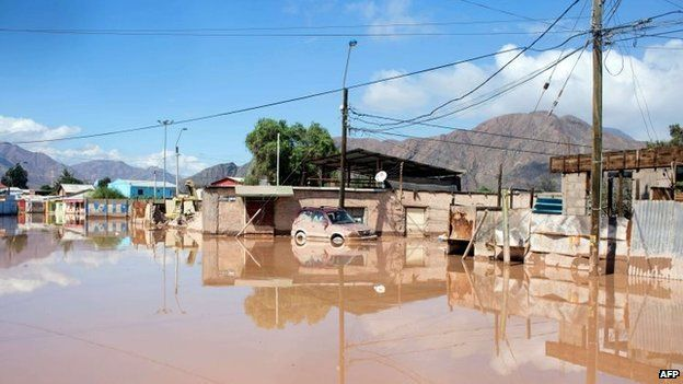 A flooded street in the city of Copiapo on 26 March, 2015