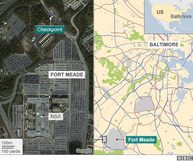 Map of Fort Meade and NSA
