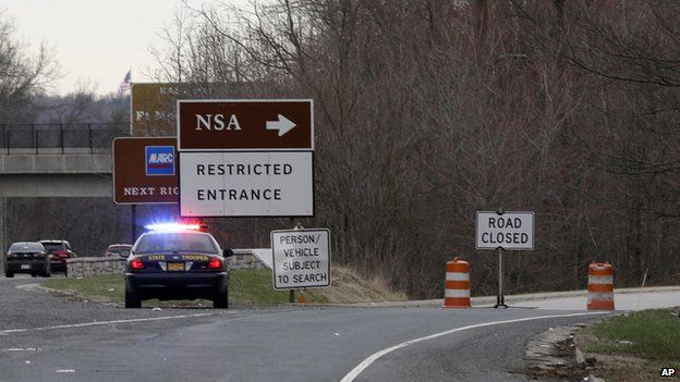 A State Police vehicle blocks an entrance to the NSA on 30 March 2015