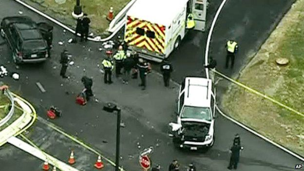 Aerial footage of the scene