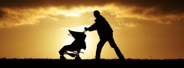 Father and pushchair