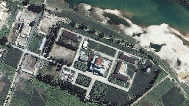 Satellite image shows Yongbyon, North Korea, where a Soviet-designed, 5-megawatt nuclear reactor is located