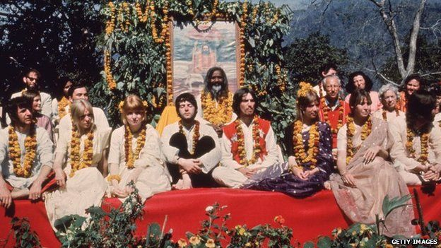 The Beatles and their wives at the Rishikesh in India with the Maharishi Mahesh Yogi, March 1968. The group includes Ringo Starr, Maureen Starkey, Jane Asher, Paul McCartney, George Harrison (1943 - 2001), Patti Boyd, Cynthia Lennon, John Lennon