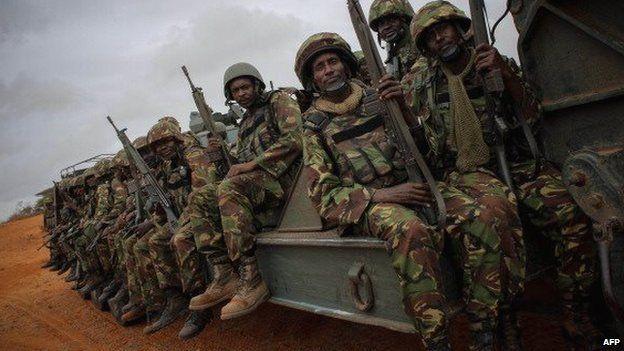 Kenya troops pictured in Somali