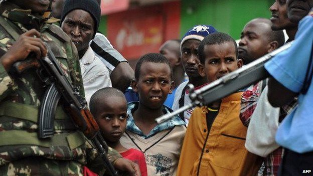 Security officers in Eastleigh, a mainly Somali district of Nairobi in Kenya