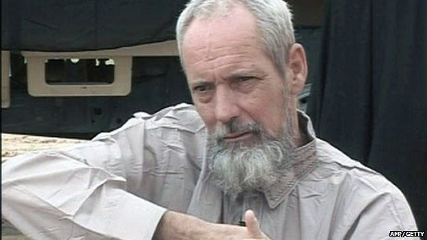 An image grab released by Al-Jazeera television on August 21, 2012, showing part of a video in which Dutch national Sjaak Rijke appears in an undisclosed location in Mali.