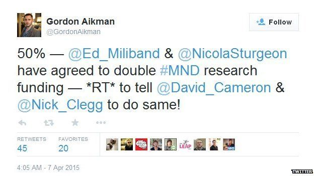 After getting the support of Ed Miliband and Nicola Sturgeon, Mr Aikman appealed to David Cameron and Nick Clegg.