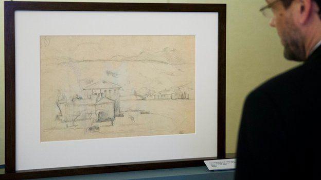 Visitor views Paul Cezanne sketch