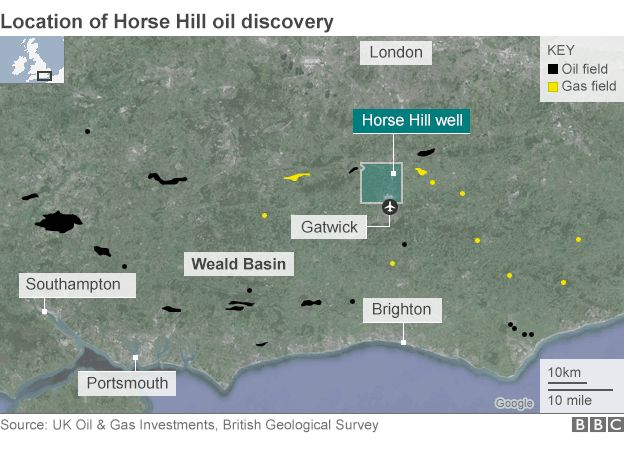 Map showing the latest oil find in southern England