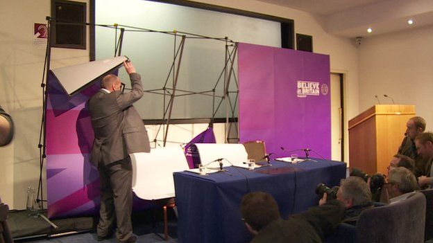 There was a hitch with the backdrop at UKIP's morning press conference