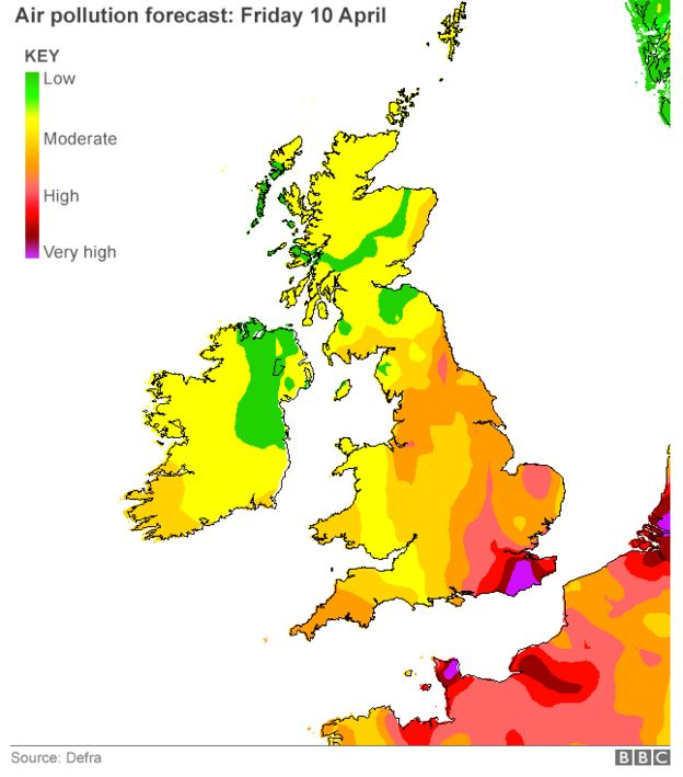 Map Of England 2015.High Pollution Hits Southern England Bbc News
