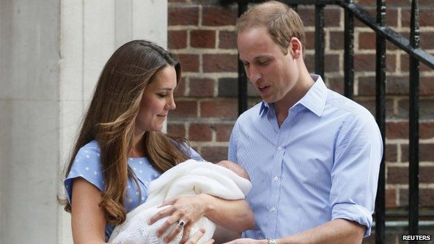 The royal couple pictured outside the Lindo Wing in July 2013