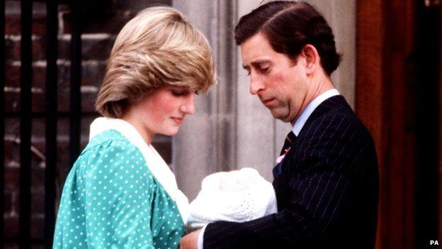 Prince of Wales handing Prince William to the Princess of Wales outside the Lindo Wing of St. Mary's Hospital