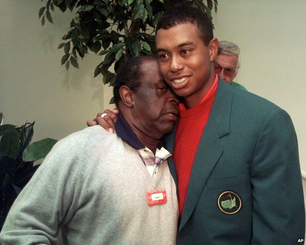 Lee Elder and Tiger Woods in 1997