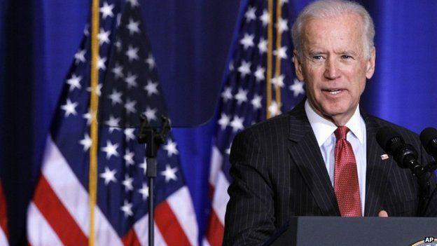 Joe Biden delivering a speech on 9 April