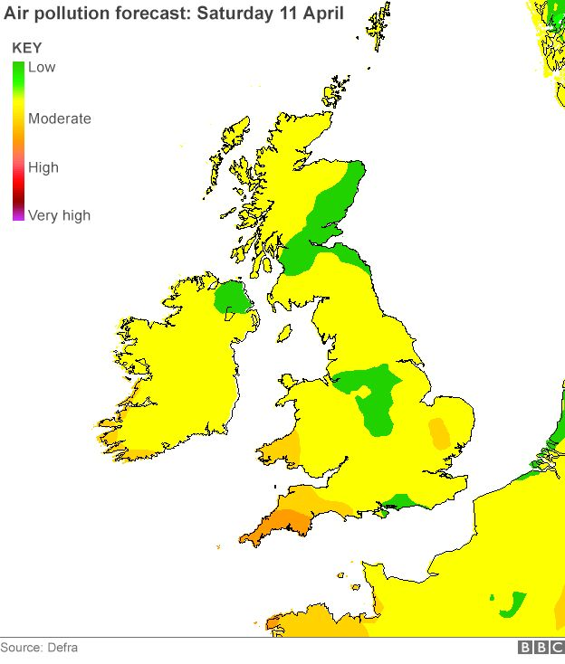 Map of UK air pollution forecast -Saturday 11 April