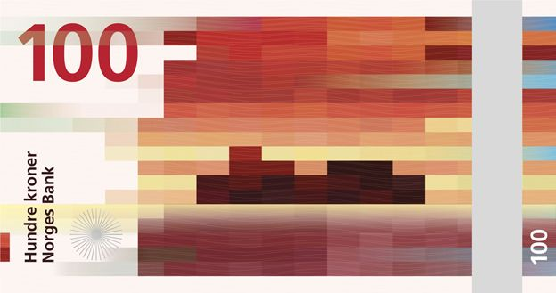 Proposed design of a new Norwegian note showing red pixelated illustration