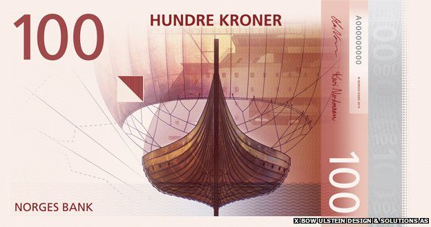 Proposed design of a new Norwegian note showing a boat
