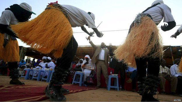 A traditional group perform in Omdurman at a Justice Party campaign meeting in Sudan 4 April 2015